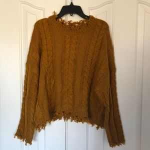 forever 21 destroyed chunky knit mustard sweater
